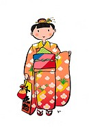 Portrait of A Girl Wearing a Kimono for Shichigosan, Illustrative Technique