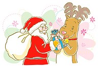 Painting of Santa Claus giving Christmas Present to reindeer , Illustration