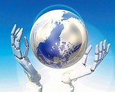 Robot´s hands and globe, CG, 3D, Illustration, Close Up