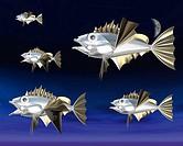 Fish Like Robots, CG, 3D, Illustration, Close Up