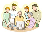 Three generation family gathering in front of computer monitor