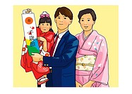 Portrait of Japanese family in formalwear, mother and daughter in Kimono, front view, yellow background