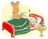 Painting of reindeer trying to wake Santa Claus up, Illustration