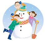 Father and children making a snowman together, Illustration