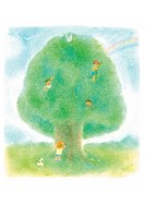 Children playing in big tree, Illustration