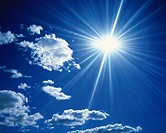Blue sky and Clouds with Sun, Low angle view, Lens Flare