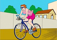 Woman riding on bicycle, exercising, low angle view