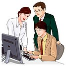 Two business men and one business woman working together, Illustration