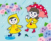 Children in rain, Painting, Illustration, Illustrative Technique, Front View