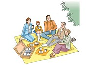 Family having a picnic, Illustration, High Angle View