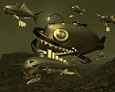 Fish Robots, Illustration, CG, 3D, Sepia, Close Up