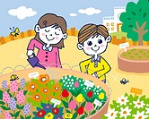Children watering flowers, Painting, Illustration, Illustrative Technique, Front View