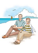Senior couple sitting on the beach, Illustration, Side View