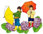 Portrait of a boy and a girl holding umbrella with image of hydrangea, side view, front view, white background, cut out