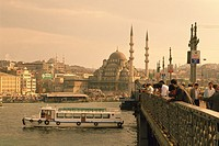 The mosque and Galata bridge, Turkey, Low Angle View