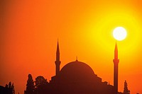 The sun and the Islamic temple, Turkey, Silhouette