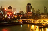 the Shanghai City By Night, the Buildings and Bridge Illuminated, Shanghai, China