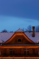 Snow Covered Roof Top Profile at Night, Luzern, Switzerland