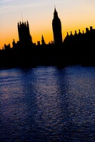 Big Ben Upon the River Thames in London silhouette