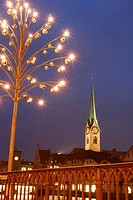 Stunning Night Scene of Fraumunster Chruch with decorative Street Lamp, Zurich, Switzerland
