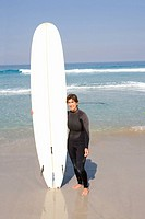 Female surfer in wetsuit with surfboard on beach, portrait