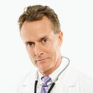 Portrait of a mid_adult Caucasian male doctor with stethoscope around his neck.