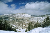 View of snow_covered Aspen from Ajax Mountain Ski Area.