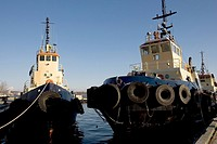 Tugboats at a dock.