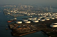 Port of Rotterdam, aerial view of the Shell Europoort terminal, liquid bulk and petro chemicals