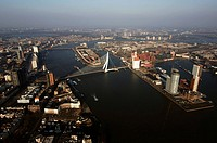 Rotterdam, aerial view of the Meuse river, the Kop van Zuid and the Erasmus bridge