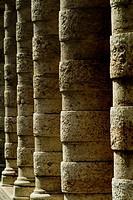 Side angle view of columns along a walkway