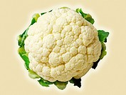 Cauliflower on beige background, directly above