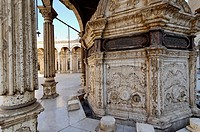 In the middle of the courtyard is a marble ablution fountain with a carved wooden roof on columns. The Mosque of Muhammad Ali at the Citadel built dur...