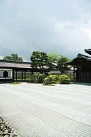 Japanese rock garden and temple
