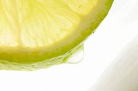 Juicy lemon slice, extreme close-up, cropped