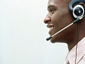 Man wearing headset,profile,head and shoulders