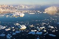 Greenland, Illulissat, Disko Bay, ice floe in fjord, night