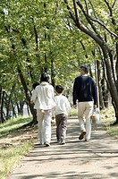 Couple with son 8-9 years and baby boy 18-24 months walking in park, rear view