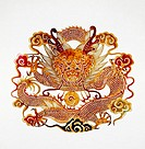 Chinese dragon shadow puppet on white background