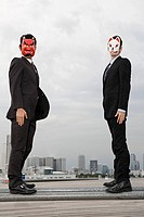 Portrait of a businessmen wearing masks