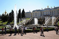 Russia, St Petersburg, Peterhof, Peter The Great´s Palace, Petrodvorets, The Grand Cascade Fountains