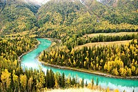 China, Xinjiang, Altay Massif, nature reserve of lake Kanas