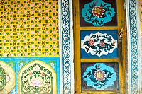 China, Xinjiang, Turpan, traditional Uyghur dwelling, painted door