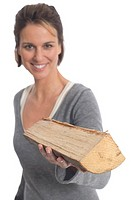 Woman holding log
