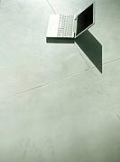 Laptop on floor,elevated view
