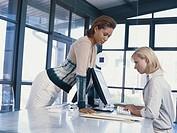 Businesswomen using computer, side view
