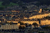 Bath, cityscape of the historical town and the rows of houses