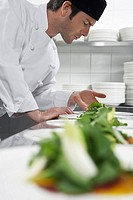 Male chef preparing salad in kitchen (thumbnail)