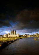 Trim Castle and River Boyne under heavy clouding in County Meath, Ireland