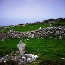 Weathered cross on the Blasket Islands, Inishtooskert, Ireland